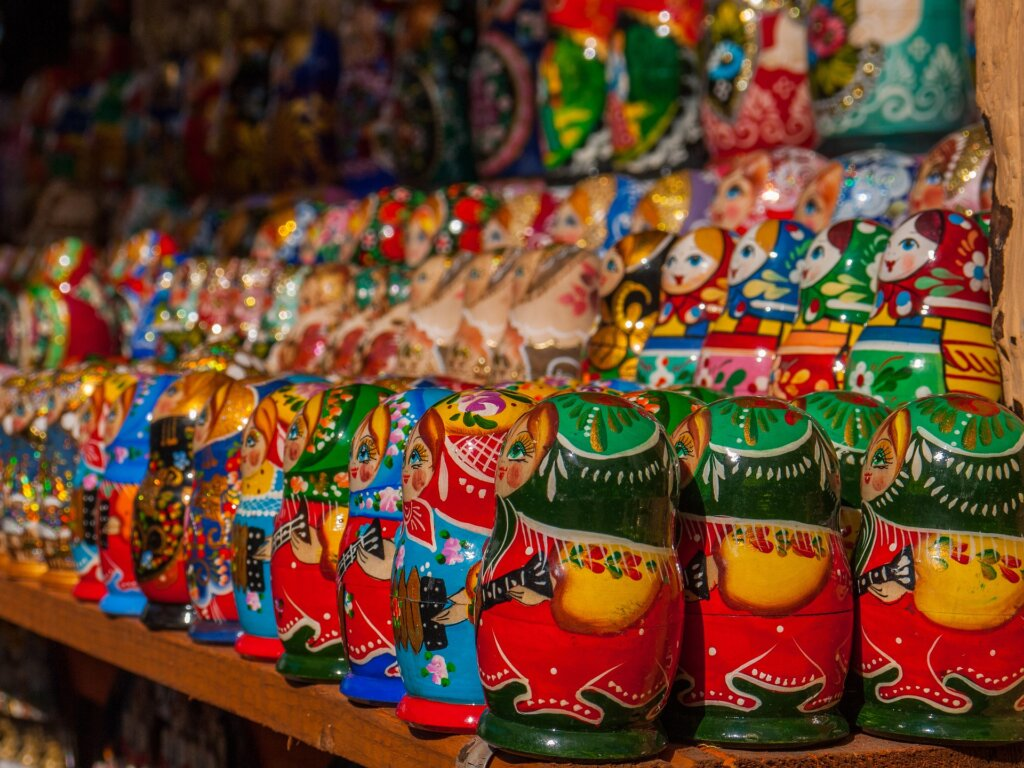 Christmas market matreshka dolls